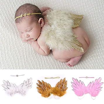 Girls Boys Newborn Baby White Angel Wings Leaf Headband Photo Photography Props