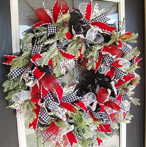 XL Christmas Winter Front Door Deco Mesh Wreath Country Farmhouse Evergreen ModernHandmade Hand Crafted
