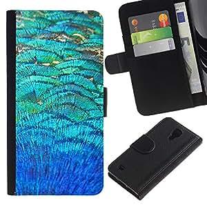 SAMSUNG Galaxy S4 IV / i9500 / SGH-i337 Modelo colorido cuero carpeta tirón caso cubierta piel Holster Funda protección - Teal Field Abstract Nature