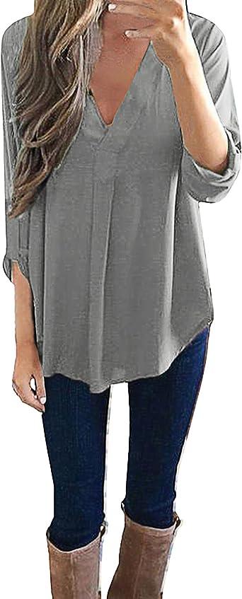 Style Dome Mujer Camiseta Camisa Blusa Mangas Largas Elegante Moda Oficina Casual Suelto con Tops Bolsillo Color Camisa Gris-649686 M: Amazon.es: Ropa y accesorios