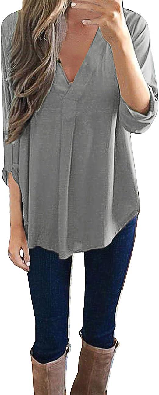 Style Dome Mujer Camiseta Camisa Blusa Mangas Largas Elegante ...