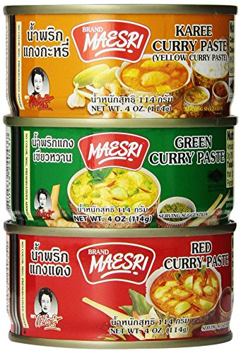 6 Can (4oz. Each) of Thai Green Red Yellow Curry Pastes (Thai Green Curry Sauce)