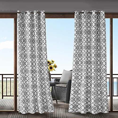 1 Piece Grey Fretwork Gazebo Curtain Panel 95 Inch, Gray Trellis Outdoor Curtain Light Filtering For Patio Porch, Water Resistant Indoor/outdoor Drapes For Sunroom Pergola Garden Grommet, Polyester by AL