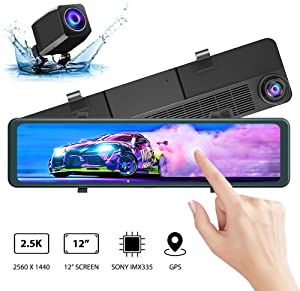 "AKASO DL12 2.5K Mirror Dash Cam 12"" Touch Screen Front and Rear Dual Dash Camera for Cars Enhanced Night Vision Backup Camera with Sony Starvis Sensor GPS G-Sensor Parking Assistance"