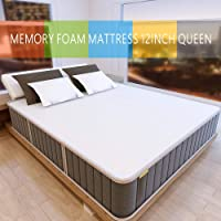 Milemont 12-Queen Gel Infused Medium Feel CertiPUR-US Certified Memory Foam Mattress (White)