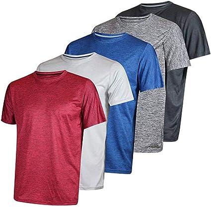 Pack de 5 Camisetas monocromáticas para Hombre, de Manga Corta, Secado rápido, Ropa Deportiva, Multipack de Cuello Redondo B b XXL: Amazon.es: Informática