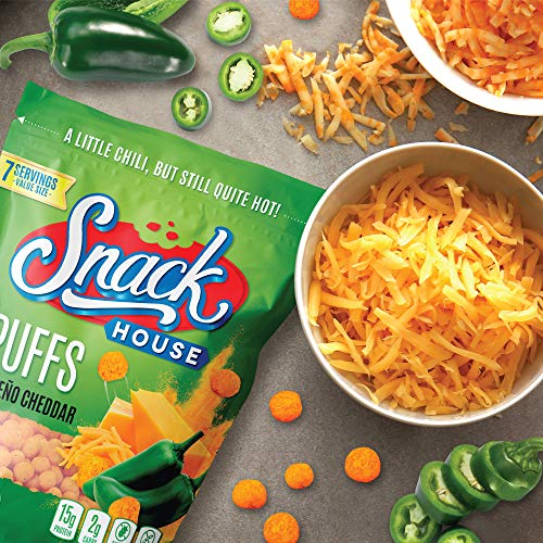 Snack House High Protein Low Carb Keto Snacks, Gluten Free Healthy Protein Puffs - No Sugar Added, Savory Diet Food for Adults and Kids, Jalapeño Cheddar, 7 Servings 4