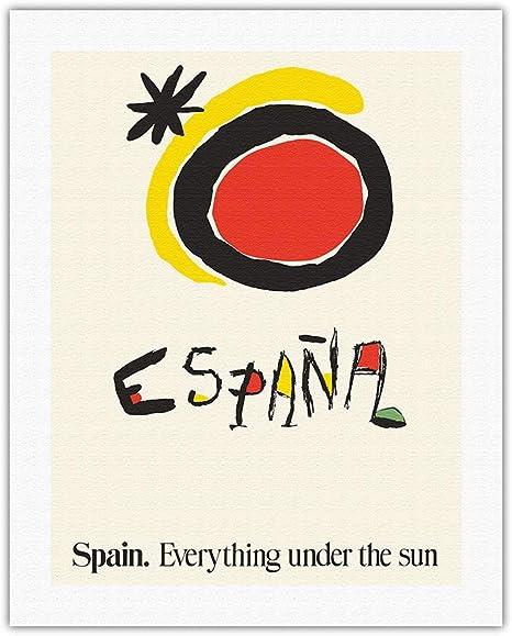 Pacifica Island Art - España - Todo bajo el Sol - Póster de Viajes de Joan Miro c.1983 - Lámina giclée - 30.5 x 41 cm: Amazon.es: Hogar