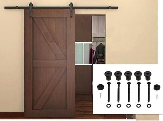 Desconocido 6 ft Puerta Corredera Armario Hardware Track Set 72 Estilo Moderno Negro de Carril de Granero Madera: Amazon.es: Juguetes y juegos