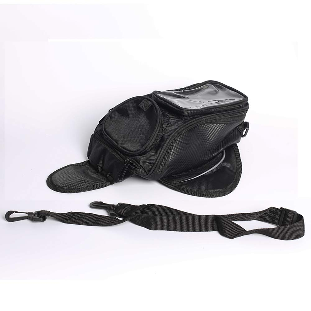 Motorcycle Tank Bag Oxford Waterproof Magnetic Saddlebag with Big Window Black 48.537cm Universal Rear Seat Saddle Bag Travel Tool Tail Luggage