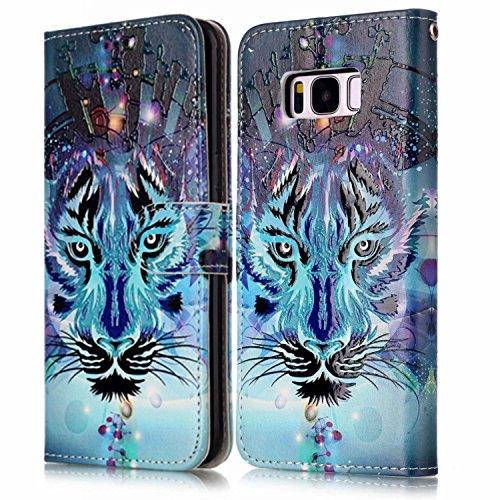 Galaxy S8 Plus Hülle,Galaxy S8 Plus Schutzhülle,Galaxy S8 Plus Leder Tasche, Surakey Lederhülle Leder Tasche Case Cover für Samsung Galaxy S8 Plus Handyhülle PU Leder Flip Case Schutz Etui Schale Retr Blau Wolf
