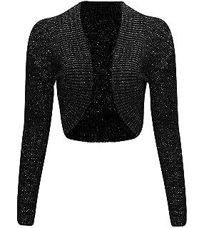 Thever Women Ladies Long Sleeve Knitted Metallic Lurex Shrug