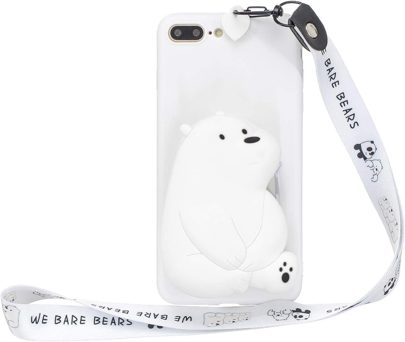 Yobby Cover per iPhone 7 Plus/8 Plus,Bianco Opaca Silicone 3D Orso Polare Animali Disegni Custodia Morbida Gomma Tasca con Cinturino,Kawaii Cool Moda ...
