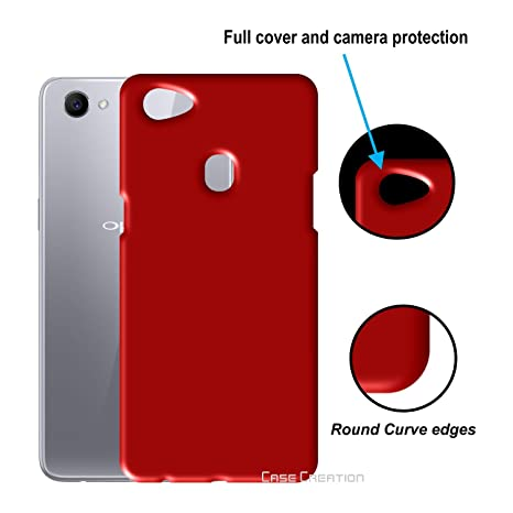 new style 55237 80d33 Case Creation Oppo F7 Back Cover, Hard Back case Cover for Oppo F7/OppoF7  6.23-inch (New Launch 2018) -Maroon Wine RED