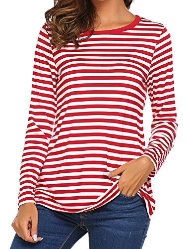 OURS Womens Casual Long Sleeve Cotton Halloween Stripes T-Shirt Tops (L, Red)