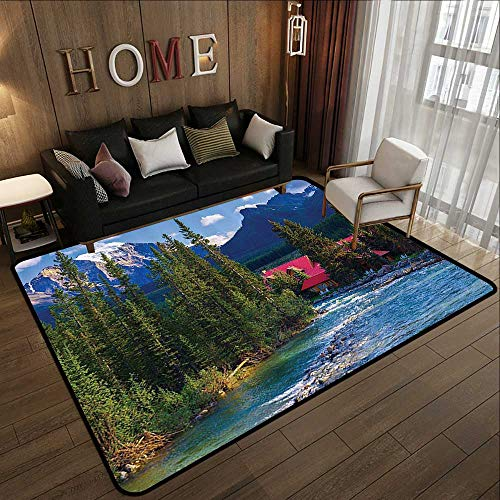 American Floor mats,Lake House Decor,Pipestone River Rushes Past Log Cabins in Lake Louise Village,Banff National Park,Canada 78.7