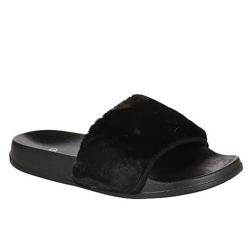 Mujer Planos Sin Cordones Farrah Gomilla Slider Zapatos Sin Talón Piel Pantuflas Sandalias - Fucsia/Negro, 38