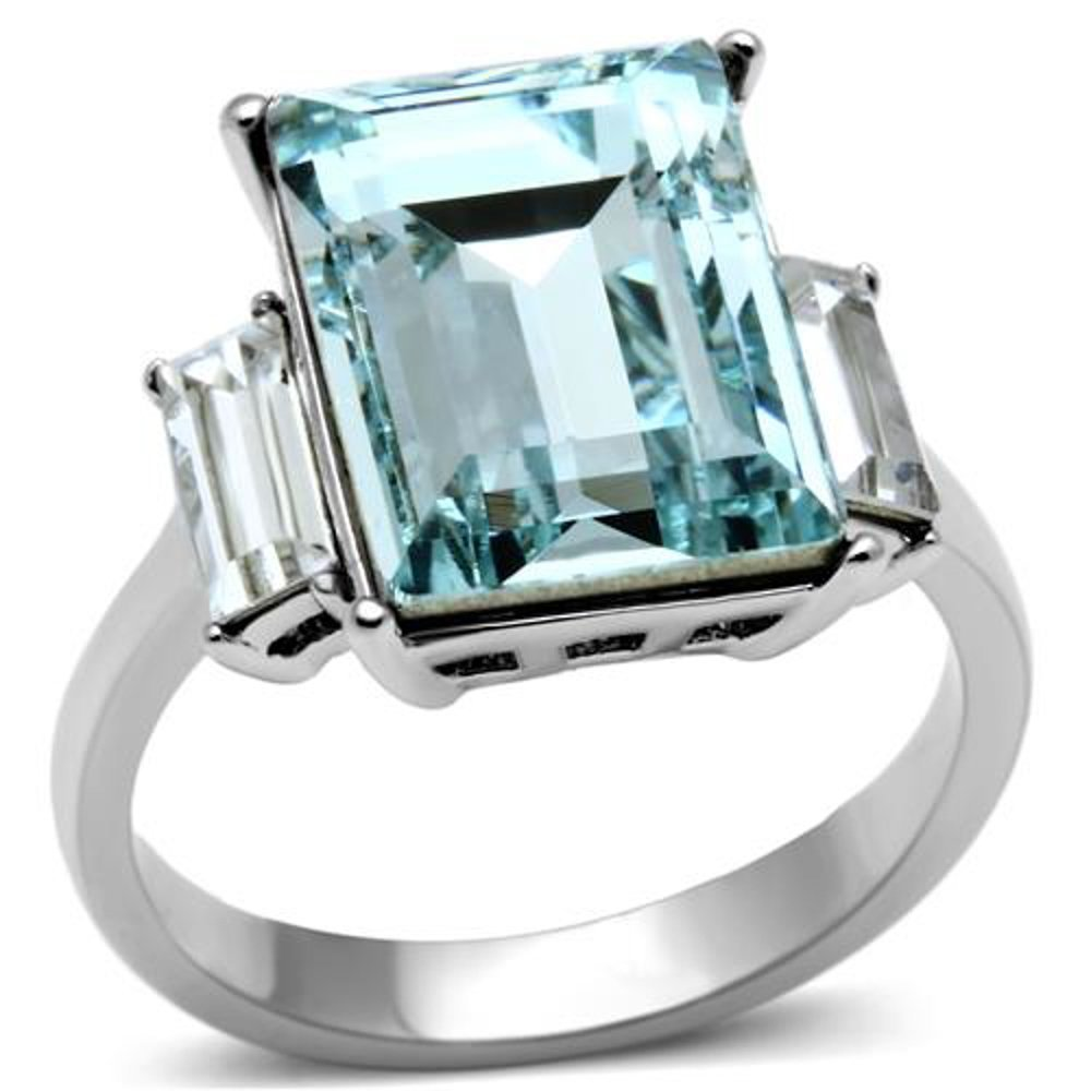 Women's.6 CT RADIANT CUT SEA BLUE CRYSTAL STAINLESS STEEL ENGAGEMENT RING Size 8 by Marimor Jewelry (Image #1)