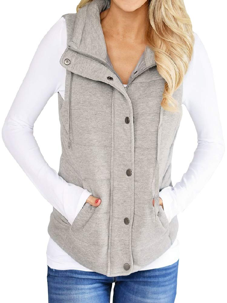 Valphsio Womens Casual Quilted Puffer Vest Lightweight Zip Up Drawstring Jacket Outerwear with Pockets (X-Large, Grey) by Valphsio