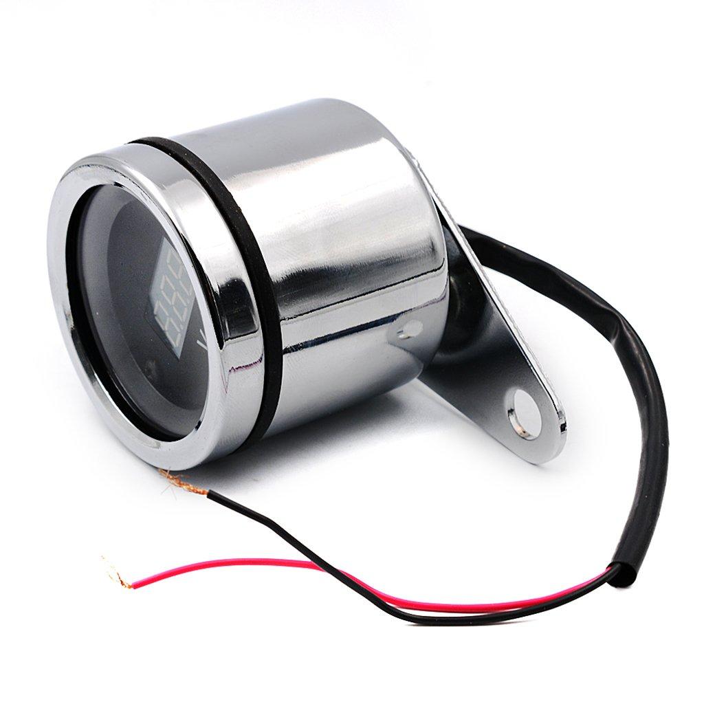 MagiDeal Voltm/ètre LED Instrument Universel Moto Jauge Impermeable 12 V Moto Pi/èce En Acier Inoxydable