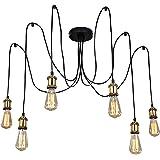 KARMIQI 6 Lights Industrial Chandelier Hanging Pendant Lighting, Adjustable Spider Ceiling Lighting Fixtures for Living Room