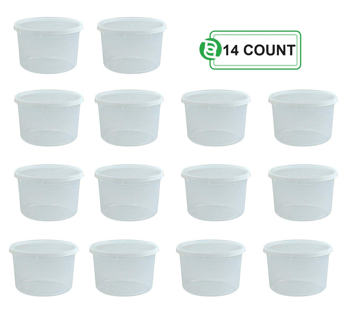 Party Bargains Storage Containers with Lids, Size: 64 oz (Half Gallon), Count: Pack of 14