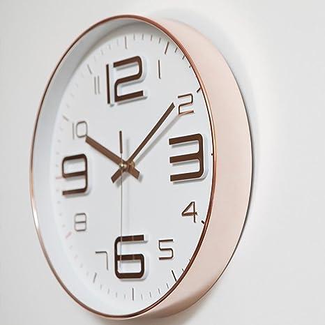 HY-FHLJ Wanduhr Wohnzimmer Schlafzimmer Modern Nicht tickend Silent  Sweeping Sekunden Dekoration 12 Zoll (Rose Gold / Silber) , Roségold , 12  inches