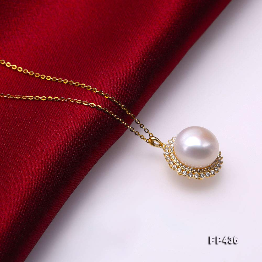 JYX Pearl Pendant 925 Sterling Silver Genuine 13.5mm Flat Round Cultured Freshwater White Pearl Pendant Necklace for Women