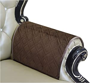 Haomaijia Nonslip Coffee Sofa Arm Covers Couch Sofa Slipcover for Leather Couch Quilted Furniture Protector for Dogs Kids Pets (BLatte, 14 x14 Inches Sofa Armrest Cover-2 Pieces)