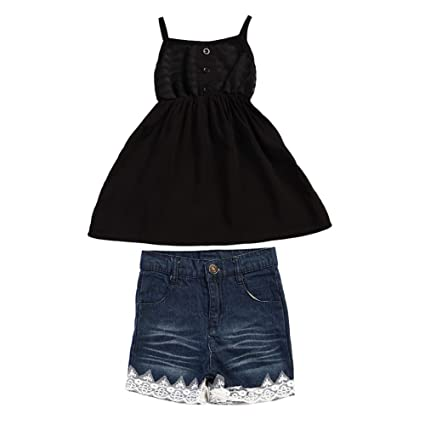 ceaf950a Diamondo Summer Two-Pieces Outfit Girls Baby Black Vest Tops Denim Short  Pant Cloth Set