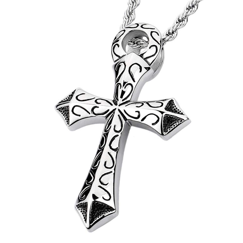 Jaiconfiance Mens Necklace Mens Silver Black Gothic Pendant Stainless Steel Retro Totem Cross Pendant DIY Jewelry /Birthday Gift Punk Design Color : Silver, Size : 7246MM