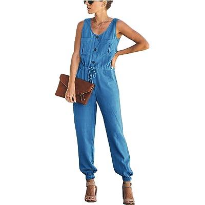 Asskdan Mono de Verano Sexy para Mujer Mono Sin Mangas Body Body Pantalones Combinados (Azul, M): Ropa y accesorios
