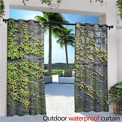 Embroidered Creeper - warmfamily Brick Wall Balcony Curtains Growing Creeper Plants Outdoor Patio Curtains Waterproof with Grommets W72 x L84