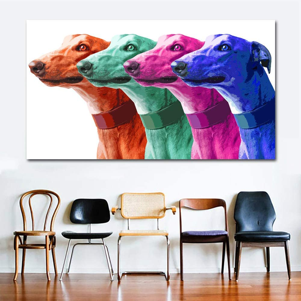 SERTHNY Print On Canvas,Art Pop Art Canvas Painting Poster Prints Greyhound Animal Oil Painting Modern Colorful Galgo Wall Art Picture-20/×40Cm