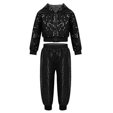 fb768bf2d Alvivi Unisex Kids Boys Girls 2PCS Shiny Sequins Long Sleeves Hooded Top  with Pants Hip Hop Jazz Dancing Costume: Amazon.co.uk: Clothing
