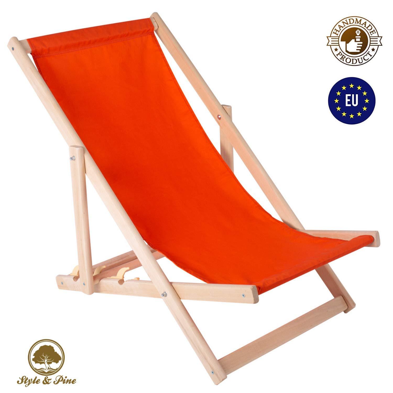 Amazinggirl Chaise Longue de Jardin Pliante liège - Chaise Longue Relax pour Jardin Balcon Chaise Longue de Jardin (Orange)