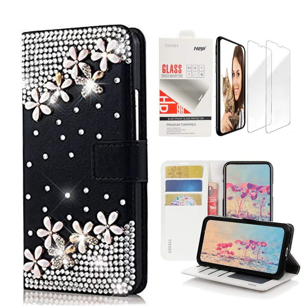 STENES ブリングウォレットケース - 3Dハンドメイドデザインレザーケース リストストラップ&スクリーンプロテクター付き [2パック] - SSBLDwSPシリーズ - 12 Design for iPod Touch 5 & 6 SSC8611 Design for iPod Touch 5 & 6 Flowers Floral / Black B07LCD1JRJ
