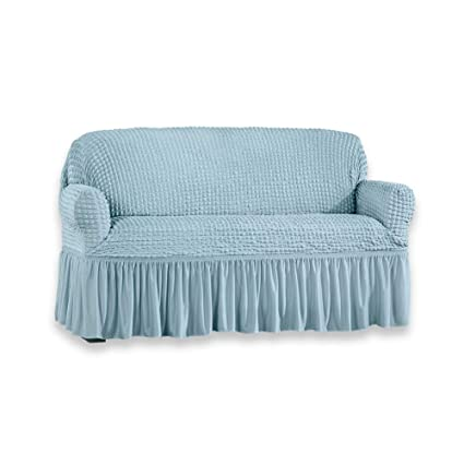 Enjoyable Collections Etc Classic Textured Ruffle Stretch Slipcover Furniture Protector For Easy Coverage Blue Loveseat Pdpeps Interior Chair Design Pdpepsorg