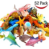 Funcorn Toys Ocean Sea Animal, 52 Pack de mini vinilo, plástico, juego de juguete de animales, realista debajo de la figura de la vida marina. Juguete de baño para niños Fiesta educativa Pastel Cupcake Topper, Octopus Shark Otter