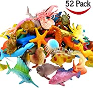 Funcorn Toys Ocean Sea Animal, 52 Pack Assorted Mini Vinyl Plastic Animal Toy Set, Realistic Under The Sea Lif