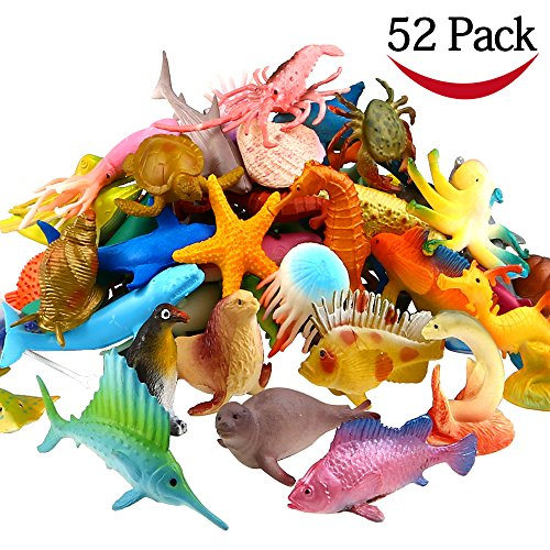 Ocean Sea Animal, 52 Pack Assorted Mini Vinyl Plastic Animal Toy Set, Funcorn Toys Realistic Under The Sea Life Figure Bath Toy for Child Educational Party Cake Cupcake Topper,Octopus Shark Otter (Set Figure Plastic)