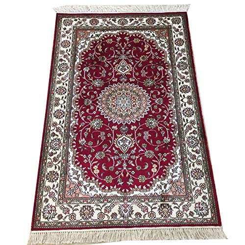 Medallion Silk Rug - YILONG CARPET 2.5' x 4' Handmade Silk Rug for Living Room Oriental Traditional Kashan Persian Medallion Hand Knotted Silk Rug Y204C2.5x4