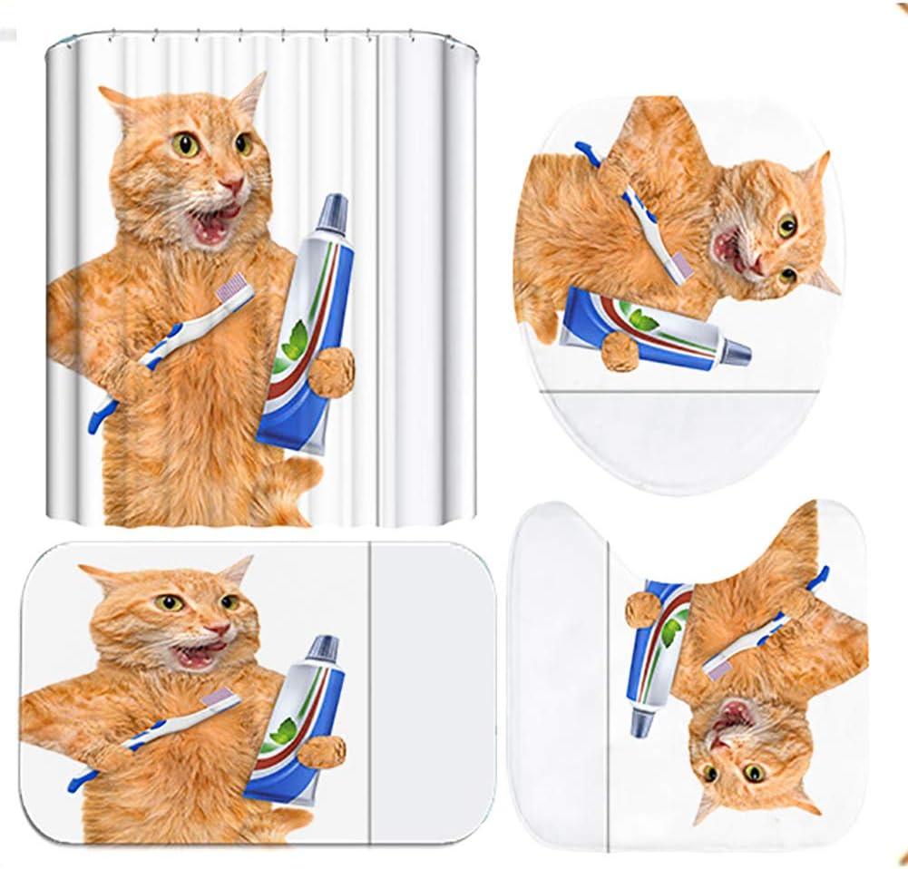 Anti Rutsch Badematte Toiletten-Abdeckung Matte Badteppiche,3D Gelb Kleine Katze Badezimmer Dekoration LCXNN 4 Pcs Set Duschvorhangset Duschvorleger mit 12 Haken,90x180