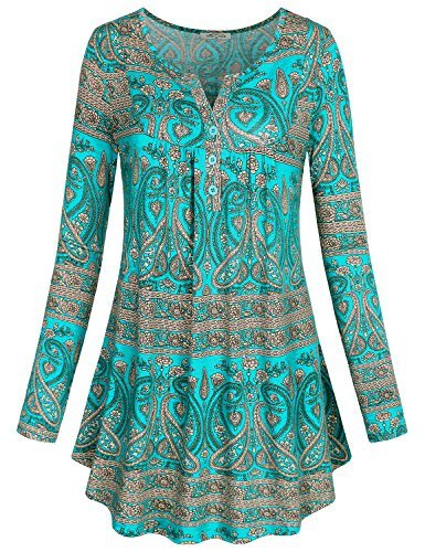 Fat Flowers - SeSe Code Plus Size Long Sleeve, Women's Crewneck Stretchy Floral Shirts Flared Casual Swing Jersey Tunic Tops Green L