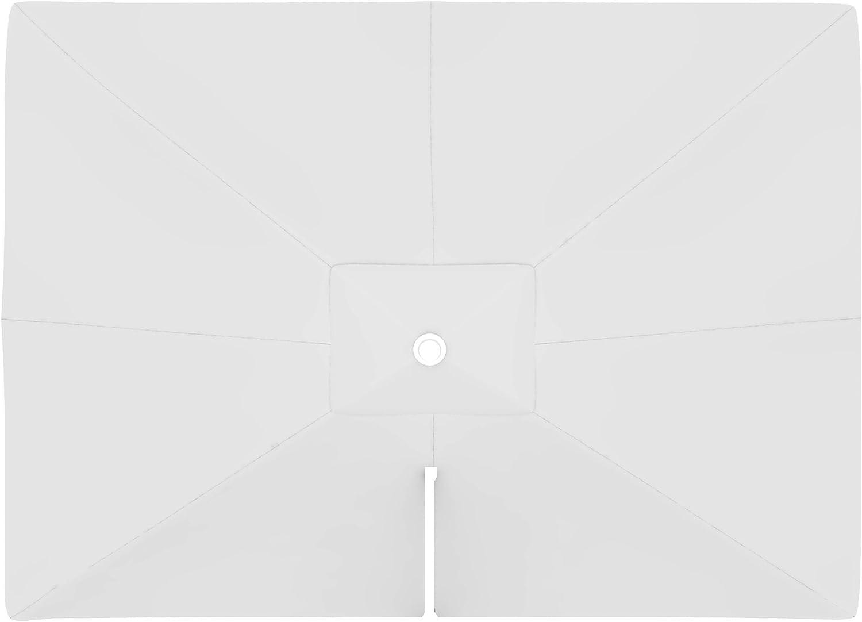 paramondo Tela de Recambio para Sombrilla Parasol PARAPENDA Incl. Air Vent (4 x 3m / Rectangular), Blanco