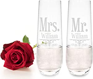 Personalized Future Retro Mr. Mrs. Wine Flutes Mom Dad Grandpa Anniversary Engagement Proposal Gifts Couples Renew Vows Newly Married Bridal Decor