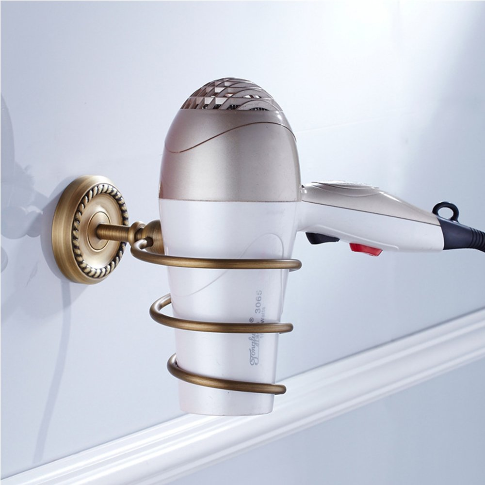 Vejaoo Antique Brass Spiral Practical Wall-mounted Bathroom Hair Dryer Holder