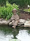 Fishing Boy Cast Stone Statue-sculpture/pond and garden decor/accent- Great Garden Gift Idea! For Sale