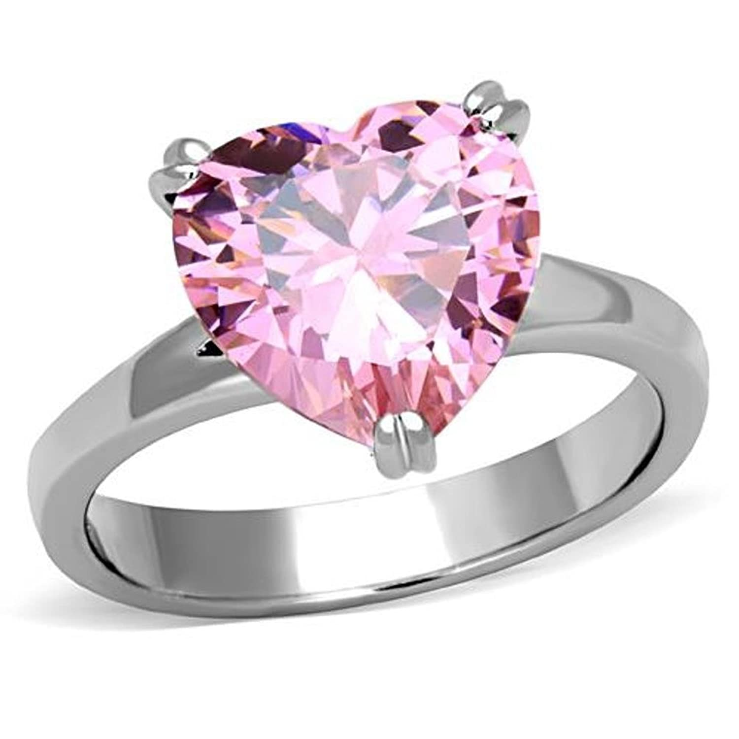 Valentines Pink Heart CZ Stainless Steel Ring TK316|Amazon.com