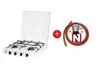 ElectrodomesticosN1 Pack Hornillo a Gas Orbegozo fo 4550 Blanco, 4 Fuegos + Regulador de Gas butano HVG, Tubo Manguera 1, 5 Metros, Abrazaderas: Amazon.es: ...